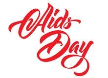 Iscrizione della mano di giorno dell'AIDS Calligrafia rossa dei nastri illustrazione vettoriale