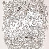 Iscrizione della mano di musica ed elementi di scarabocchi Immagini Stock