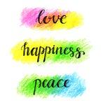 Iscrizione della mano di pace di felicità di amore Immagine Stock Libera da Diritti