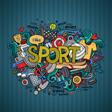 Iscrizione della mano di sport ed elementi di scarabocchi Immagini Stock Libere da Diritti