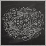 Iscrizione della mano di sport ed elementi di scarabocchi Fotografia Stock Libera da Diritti