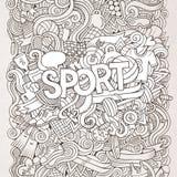 Iscrizione della mano di sport ed elementi di scarabocchi Fotografia Stock