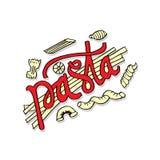 Iscrizione della mano della pasta con la varia pasta italiana Fotografia Stock