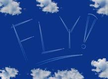 Iscrizione della mosca su un cielo blu Fotografia Stock Libera da Diritti