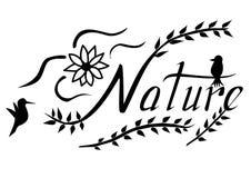 Iscrizione della natura con lettere con gli uccelli ed il fiore fotografie stock libere da diritti