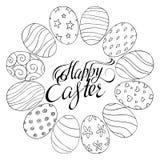 Iscrizione della Pasqua con lettere felice Uova Illustrazione di vettore Immagini Stock Libere da Diritti