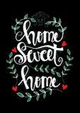 Iscrizione della scrittura con la casa dolce casa ispiratrice di frase Royalty Illustrazione gratis