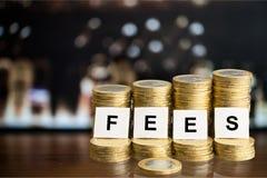 Iscrizione delle tasse sulle monete del PF delle pile Immagine Stock