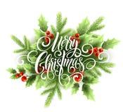 Iscrizione dello scritto della scrittura di Buon Natale Cartolina d'auguri di Natale con agrifoglio Illustrazione di vettore Immagine Stock Libera da Diritti