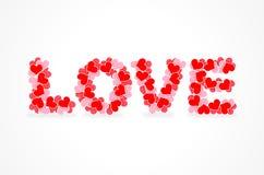 Iscrizione di amore dei cuori Fotografie Stock