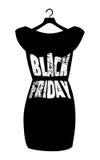 Iscrizione di Black Friday sul vestito nero alla moda Vector il manifesto dell'icona piccolo vestito nero - Black Friday Fotografia Stock