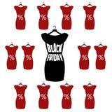 Iscrizione di Black Friday sul vestito nero alla moda Vector il manifesto dell'icona piccolo vestito nero - Black Friday Immagine Stock Libera da Diritti