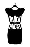 Iscrizione di Black Friday sul vestito nero alla moda Vector il manifesto dell'icona piccolo vestito nero - Black Friday Illustrazione Vettoriale