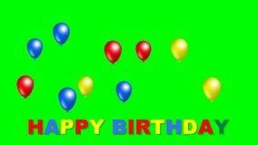 Iscrizione di buon compleanno con muovere le palle divertenti nel colore blu, rosso e giallo Bello film di compleanno su verde illustrazione vettoriale