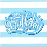 Iscrizione di buon compleanno Testo e decorazioni di festa Cartolina d'auguri e manifesto Fotografia Stock