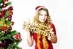 Iscrizione di Buon Natale di spirito della donna fotografie stock libere da diritti