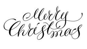 Iscrizione di Buon Natale isolata su bianco Immagini Stock
