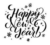 Iscrizione di calligrafia del buon anno Iscrizione felice della cartolina d'auguri di festa illustrazione vettoriale