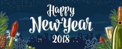 Iscrizione 2018 di calligrafia del buon anno del manifesto con la città di notte Immagini Stock