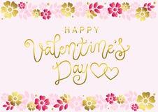 Iscrizione di calligrafia del giorno di biglietti di S. Valentino felice in dorato su fondo rosa decorato con il confine del rosa illustrazione di stock