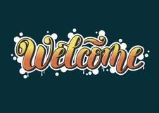 Iscrizione di calligrafia di vettore del benvenuto decorata Fotografia Stock