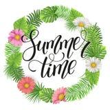 Iscrizione di estate Fondo tropicale delle foglie di palma Fotografia Stock