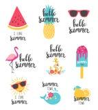 Iscrizione di estate messa con gli elementi di festa Anguria, ananas, limone illustrazione di stock