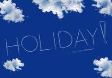Iscrizione di festa su un cielo blu Immagini Stock Libere da Diritti