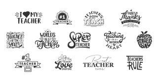 Iscrizione di giorno degli insegnanti e citazione felici di tipografia Migliori distintivi dell'insegnante del mondo per il regal illustrazione di stock