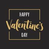 Iscrizione di giorno del ` s del biglietto di S. Valentino dell'oro per la cartolina d'auguri Immagine Stock
