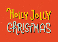 Iscrizione di Holly Jolly Christmas Cartolina d'auguri tipografica illustrazione di stock