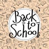 Iscrizione di nuovo alla scuola sul cerchio bianco e sul fondo senza cuciture illustrazione di stock