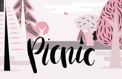 Iscrizione di picnic sul paesaggio rosa della foresta Fotografia Stock