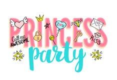 Iscrizione di principessa Party con gli scarabocchi girly e le frasi disegnate a mano per progettazione di carta di giorno di big illustrazione di stock