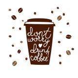 Iscrizione di tema del caffè Illustrazione commerciale di vettore Parole scritte a mano, progettazione dell'alimento calligraphic illustrazione di stock