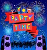 Iscrizione di tempo del partito sull'insegna Manifesto del clud della discoteca con loudspick Fotografia Stock Libera da Diritti
