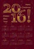 iscrizione di tipografia di 2016 calendari nel colore dell'oro Formato A3 illustrazione vettoriale