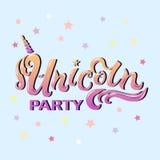 Iscrizione di Unicorn Party come il logotype, il distintivo, la toppa ed icona Fotografie Stock