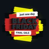 Iscrizione di vendita di Black Friday L'iscrizione con un'ombra lunga Colpi della spazzola Grandi sconti Modello di Black Friday  Immagine Stock