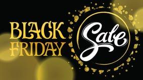 Iscrizione di vendita di Black Friday scritta nella fonte moderna di modo nello stile dell'oro su fondo scuro Fotografie Stock