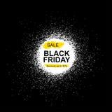 Iscrizione di vendita di Black Friday sulle macchie astratte dell'inchiostro Vendita e sconto Modello di Black Friday per la vost Illustrazione Vettoriale