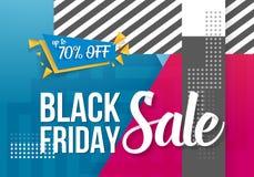 Iscrizione di vendita di Black Friday Iscrizione di carta moderna sul fondo geometrico di stile d'avanguardia 90s Immagine Stock