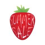 Iscrizione di vendita di estate sopra la fragola Fotografia Stock Libera da Diritti