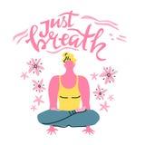 Iscrizione di vettore di yoga Appena respiro Uomo di meditazione Stile minimalista piano illustrazione di stock