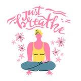Iscrizione di vettore di yoga Appena respiro Uomo di meditazione Stile minimalista piano royalty illustrazione gratis