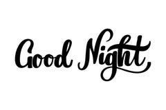 Iscrizione disegnata a mano della buona notte fotografia stock libera da diritti