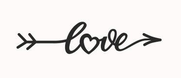 Iscrizione disegnata a mano di amore nella freccia della forma Fotografia Stock Libera da Diritti