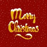 Iscrizione disegnata a mano di Buon Natale Fotografie Stock