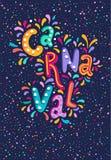 Iscrizione disegnata a mano di Carnaval di vettore con i flash del fuoco d'artificio, coriandoli variopinti Titolo festivo, inseg illustrazione di stock