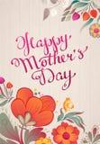 Iscrizione disegnata a mano di festa della mamma felice Fotografie Stock